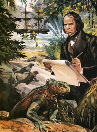 Ilustración de Darwin en Las Galápagos