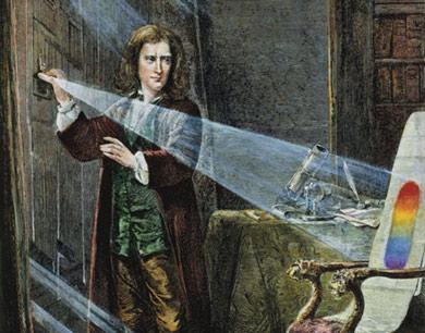 Isaac Newton experimentando con un prisma